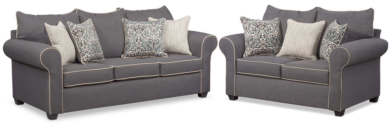 Carla Sofa And Loveseat Set - Gray By Factory Outlet
