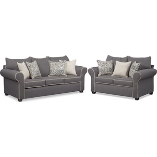 Carla Queen Innerspring Sleeper Sofa and Loveseat Set - Gray