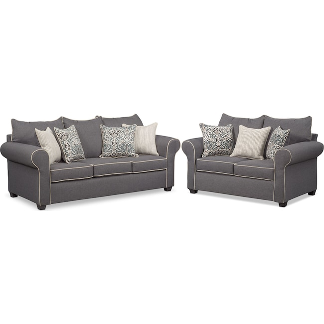 Living Room Furniture - Carla Sofa and Loveseat Set - Gray