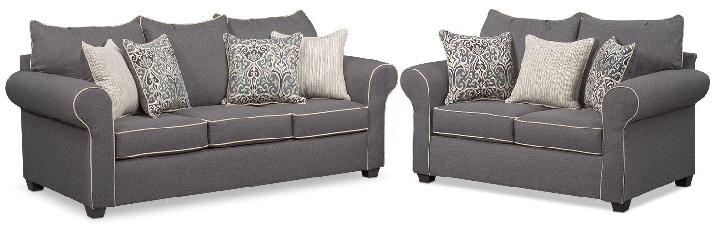 Living Room Furniture   Carla Sofa And Loveseat Set   Gray Part 92