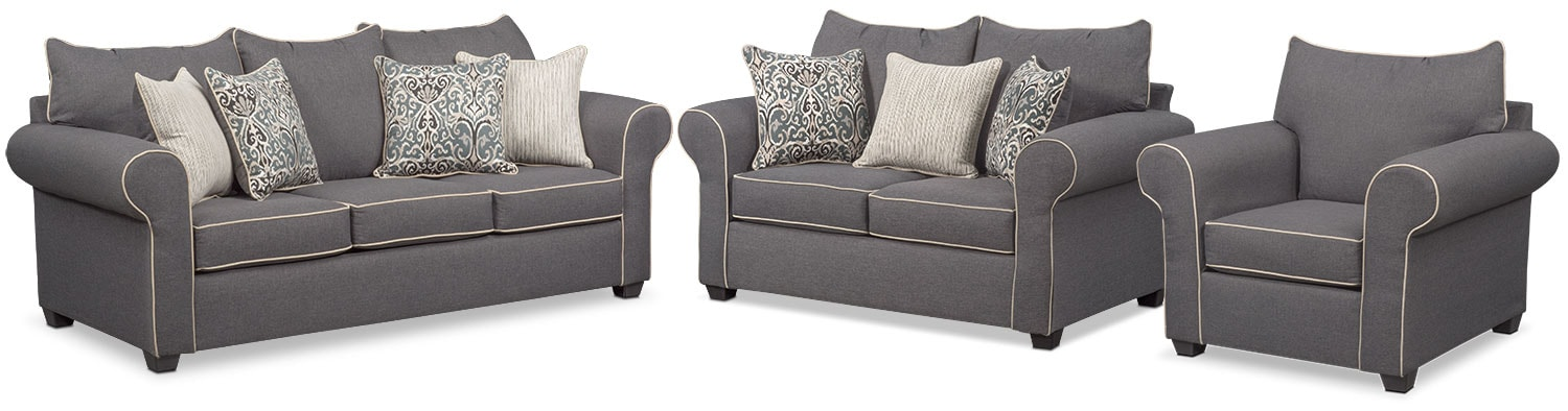 Living Room Furniture - Carla Queen Innerspring Sleeper Sofa, Loveseat and Chair Set - Gray