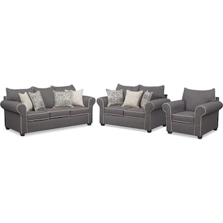 Carla Queen Memory Foam Sleeper Sofa, Loveseat, and Chair Set - Gray