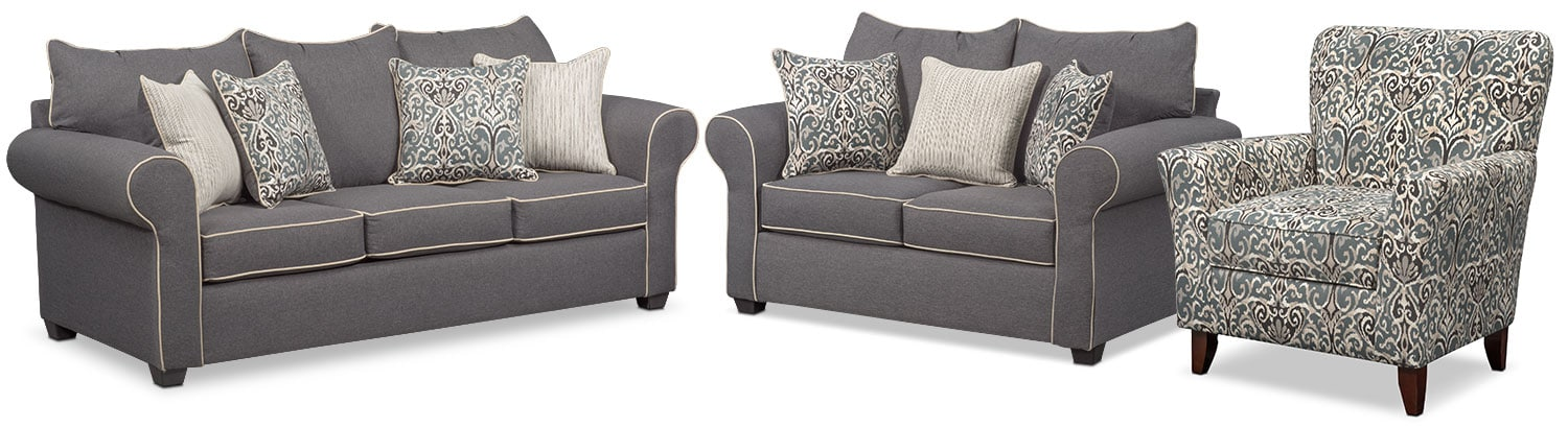 Living Room Furniture - Carla Queen Innerspring Sleeper Sofa, Loveseat and Accent Chair Set - Gray