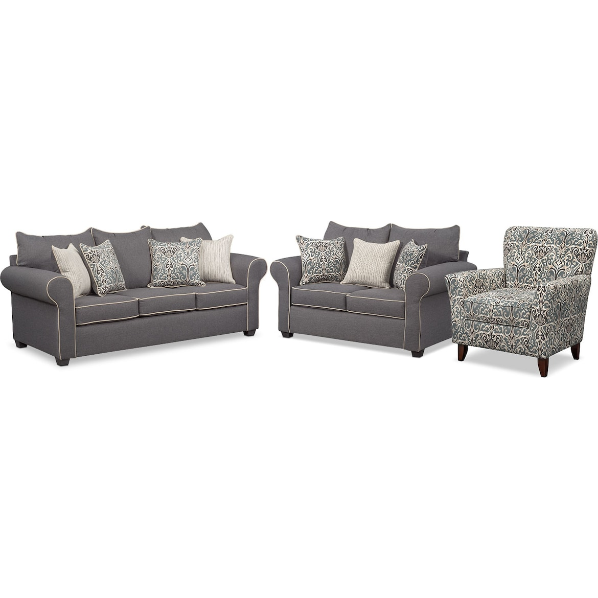 Carla Sofa Loveseat And Accent Chair Set American