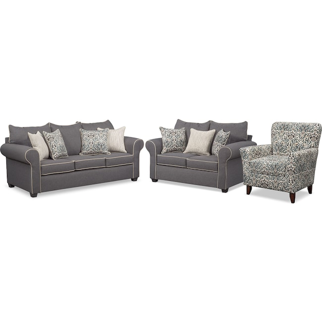 Living Room Furniture Carla Sofa Loveseat And Accent Chair Set Gray