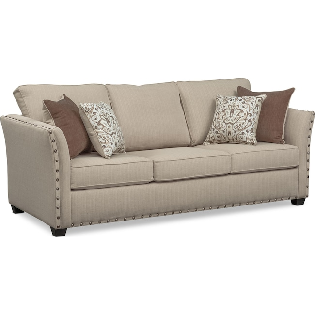 Living Room Furniture - Mckenna Queen Innerspring Sleeper Sofa - Sand