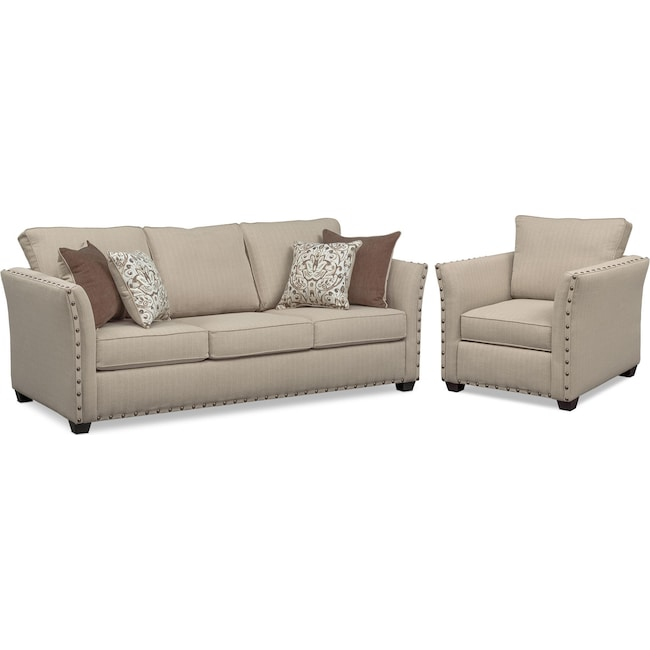 Living Room Furniture - Mckenna Queen Innerspring Sleeper Sofa and Chair Set - Sand