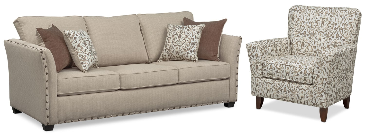Living Room Furniture - Mckenna Queen Memory Foam Sleeper Sofa and Accent Chair Set - Sand