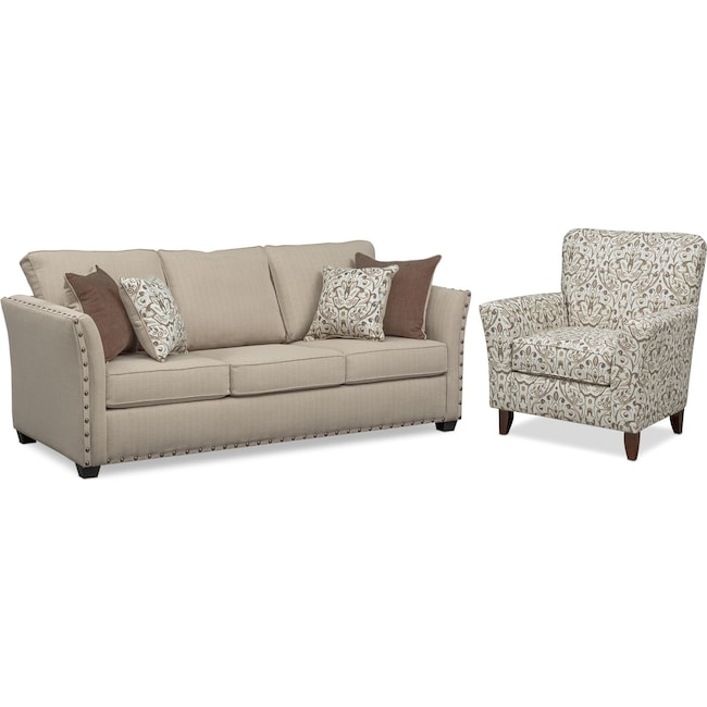 Living Room Furniture - Mckenna Queen Sleeper Sofa and Accent Chair Set