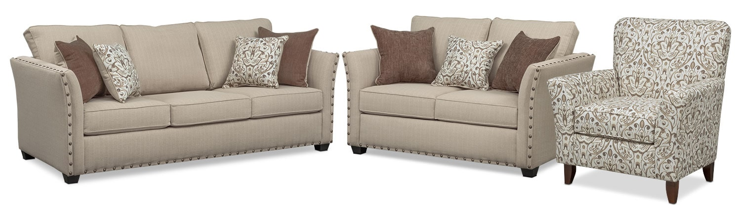 Mckenna Sofa, Loveseat, and Accent Chair Set - Sand