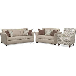 Mckenna Queen Innerspring Sleeper Sofa, Loveseat, and Accent Chair - Sand