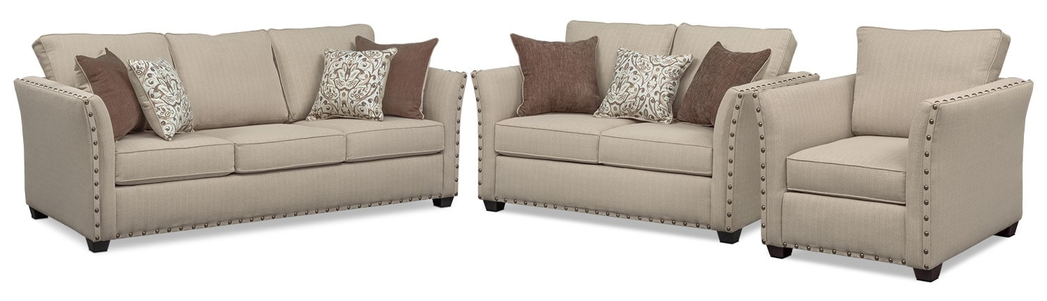 Living Room Furniture - Mckenna Queen Memory Foam Sleeper Sofa, Loveseat, and Chair Set - Sand
