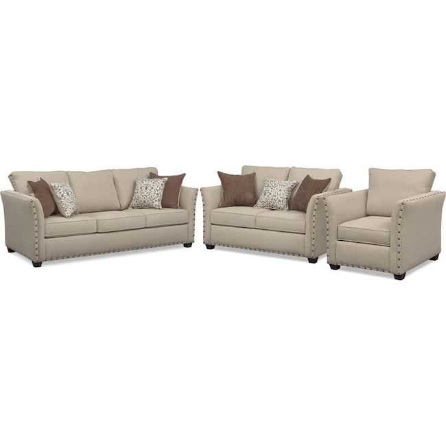 Living Room Furniture - Mckenna Queen Innerspring Sleeper Sofa, Loveseat, and Chair Set - Sand