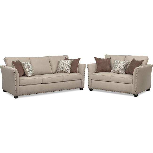 Living Room Furniture - Mckenna Queen Memory Foam Sleeper and Loveseat Set - Sand
