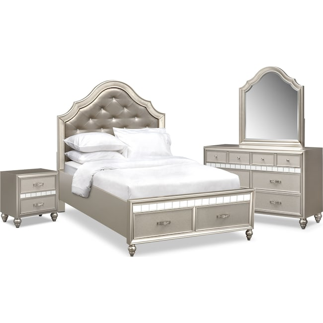 Bedroom Furniture - Serena Youth 6-Piece Full Storage Bedroom Set - Platinum