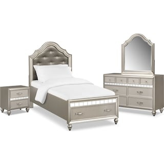 Serena Youth 6-Piece Twin Storage Bedroom Set with Nightstand, Dresser and Mirror - Platinum