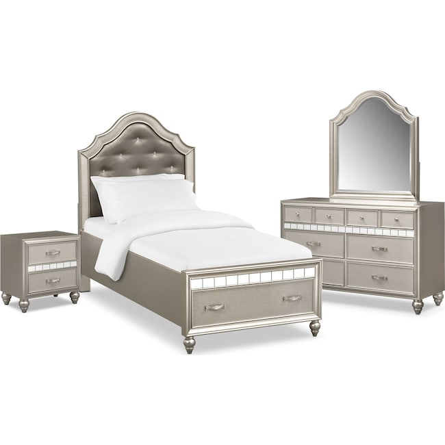 Bedroom Furniture - Serena Youth 6-Piece Twin Storage Bedroom Set - Platinum