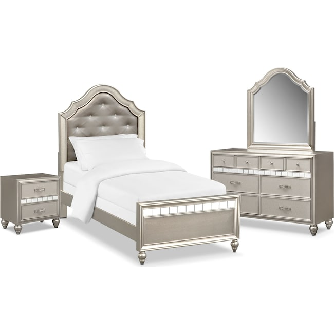 Kids Furniture - Serena Youth 6-Piece Twin Bedroom Set - Platinum