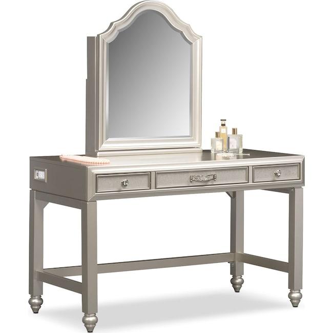Kids Furniture - Serena Vanity and Mirror - Platinum