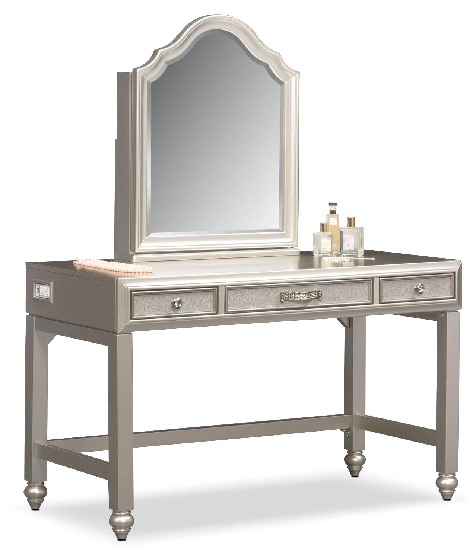 Bedroom Furniture   Serena Vanity And Mirror   Platinum