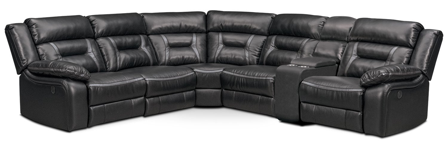 Remi 6-Piece Power Reclining Sectional with 2 Reclining Seats - Black