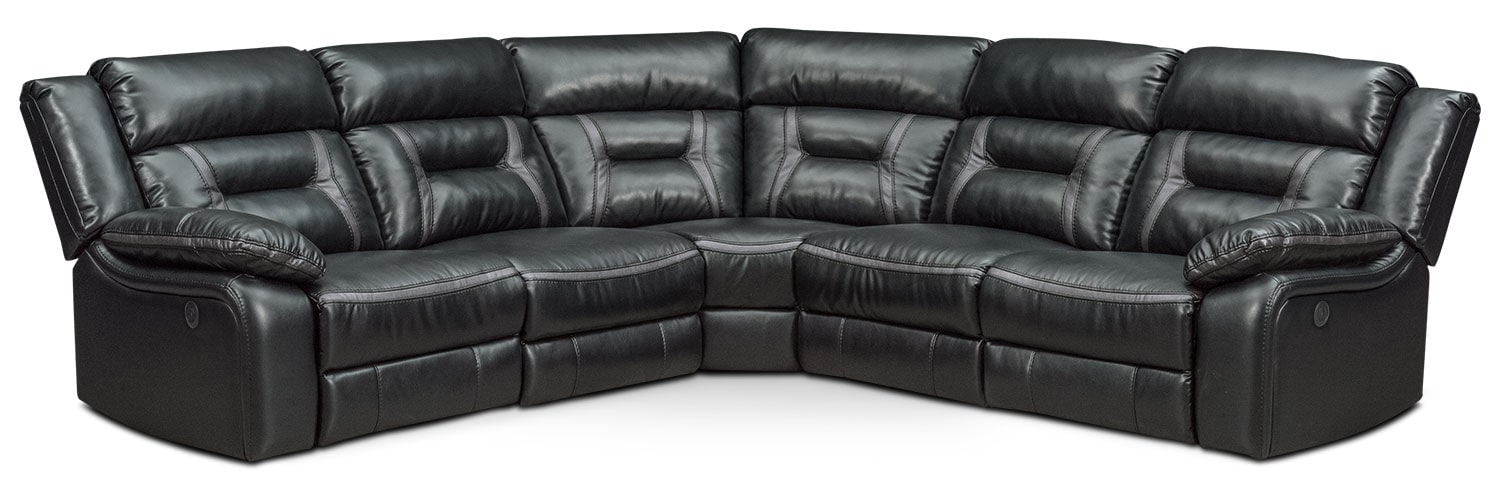 Remi 5-Piece Power Reclining Sectional with 2 Reclining Seats - Black