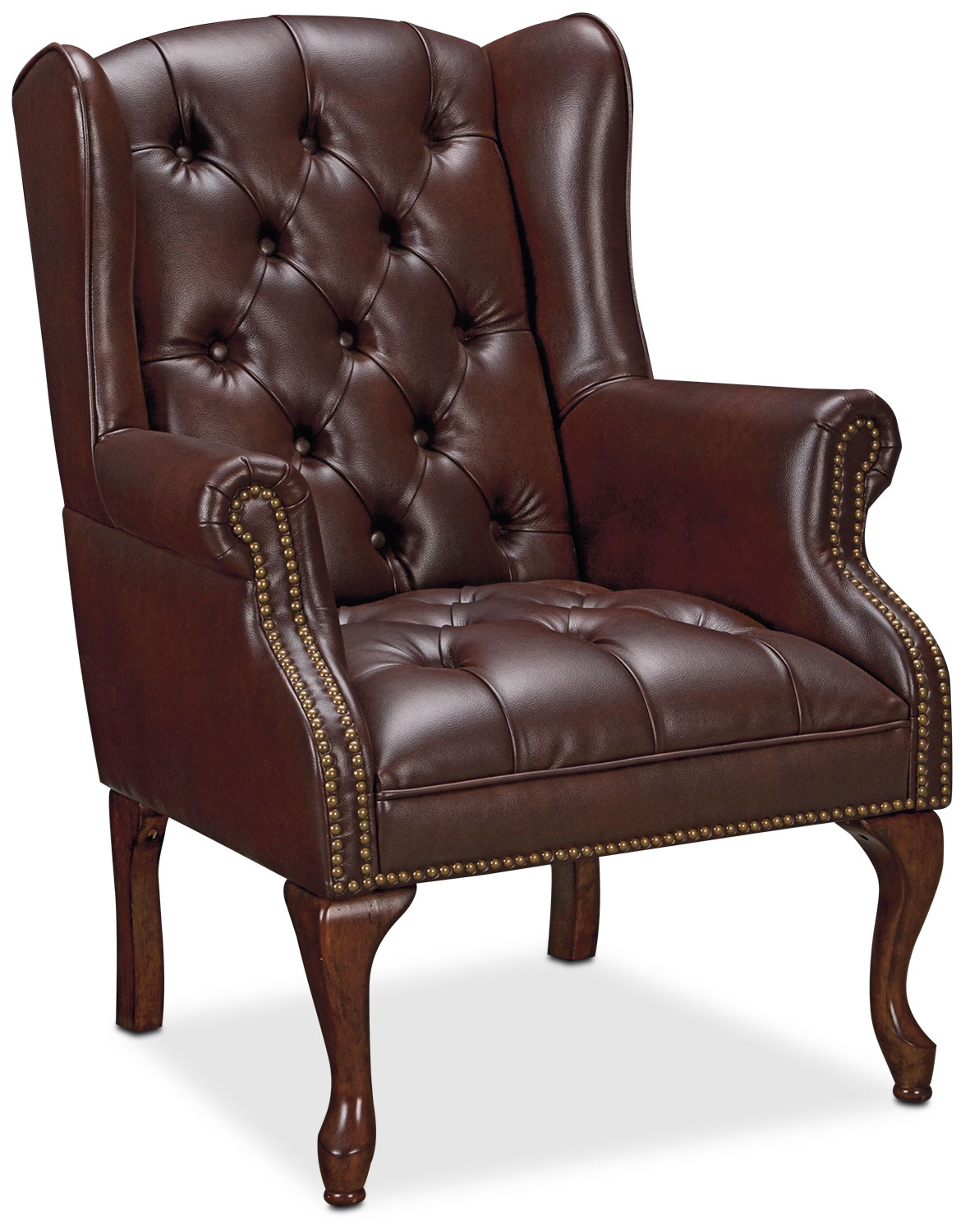 Living Room Furniture - Wyndham Tufted Button Accent Chair - Brown