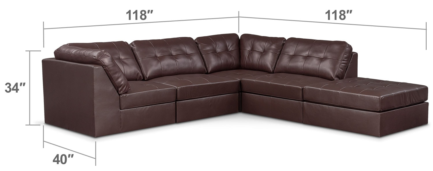 Living Room Furniture - Cayenne 5-Piece Sectional - Godiva