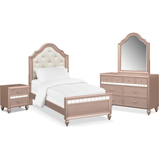 Serena Youth 6-Piece Bedroom Set with Nightstand, Dresser and Mirror