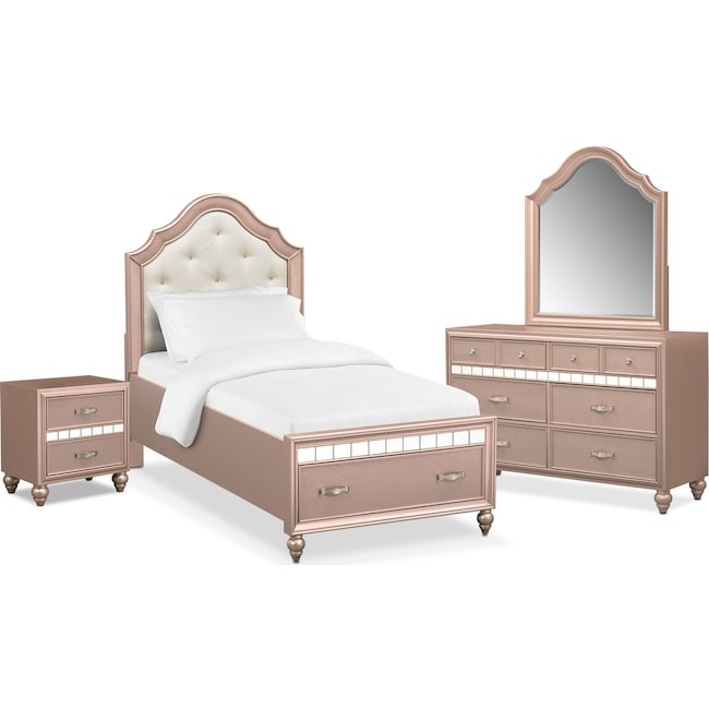 Bedroom Furniture - Serena Youth 6-Piece Twin Storage Bedroom Set - Rose Quartz