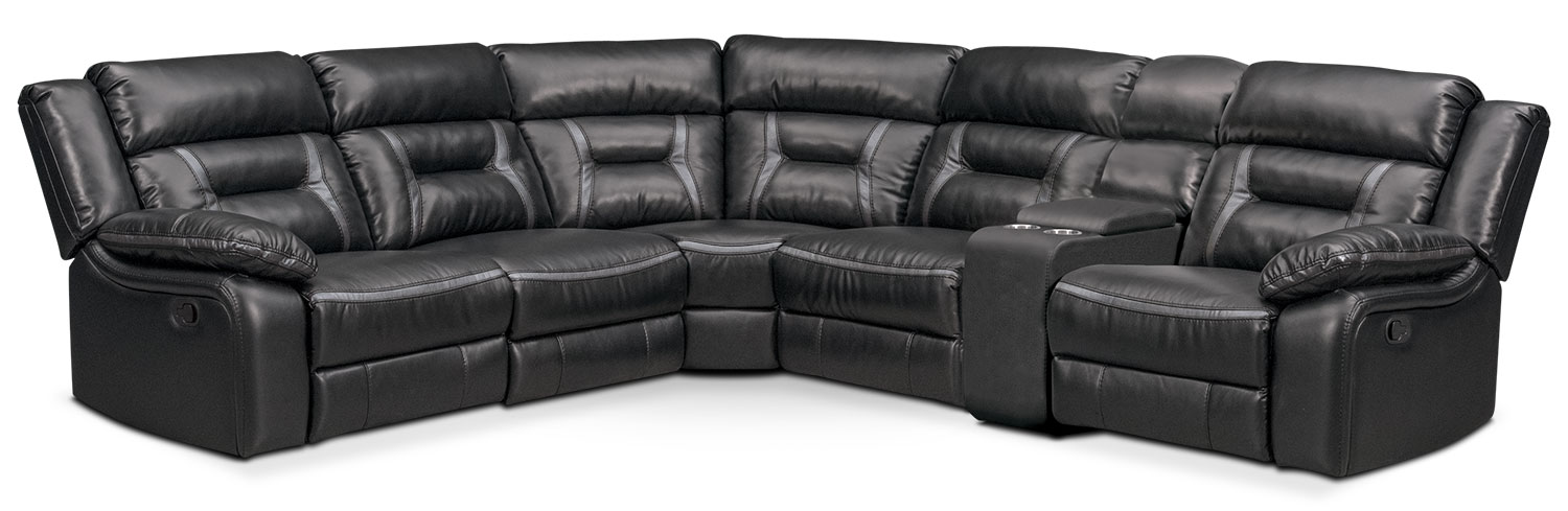 Living Room Furniture - Remi 6-Piece Manual Reclining Sectional with 2 Reclining Seats - Black