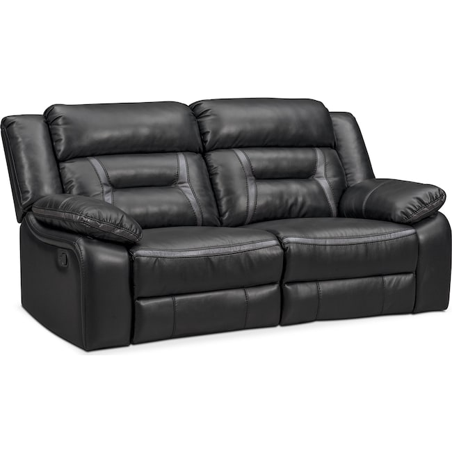 Living Room Furniture - Remi 2-Piece Manual Reclining Sofa - Black