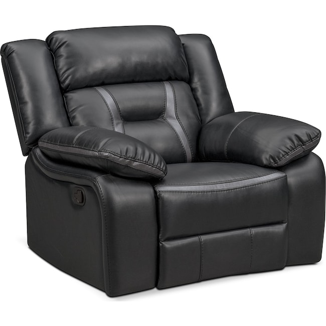 Living Room Furniture - Remi Manual Glider Recliner - Black