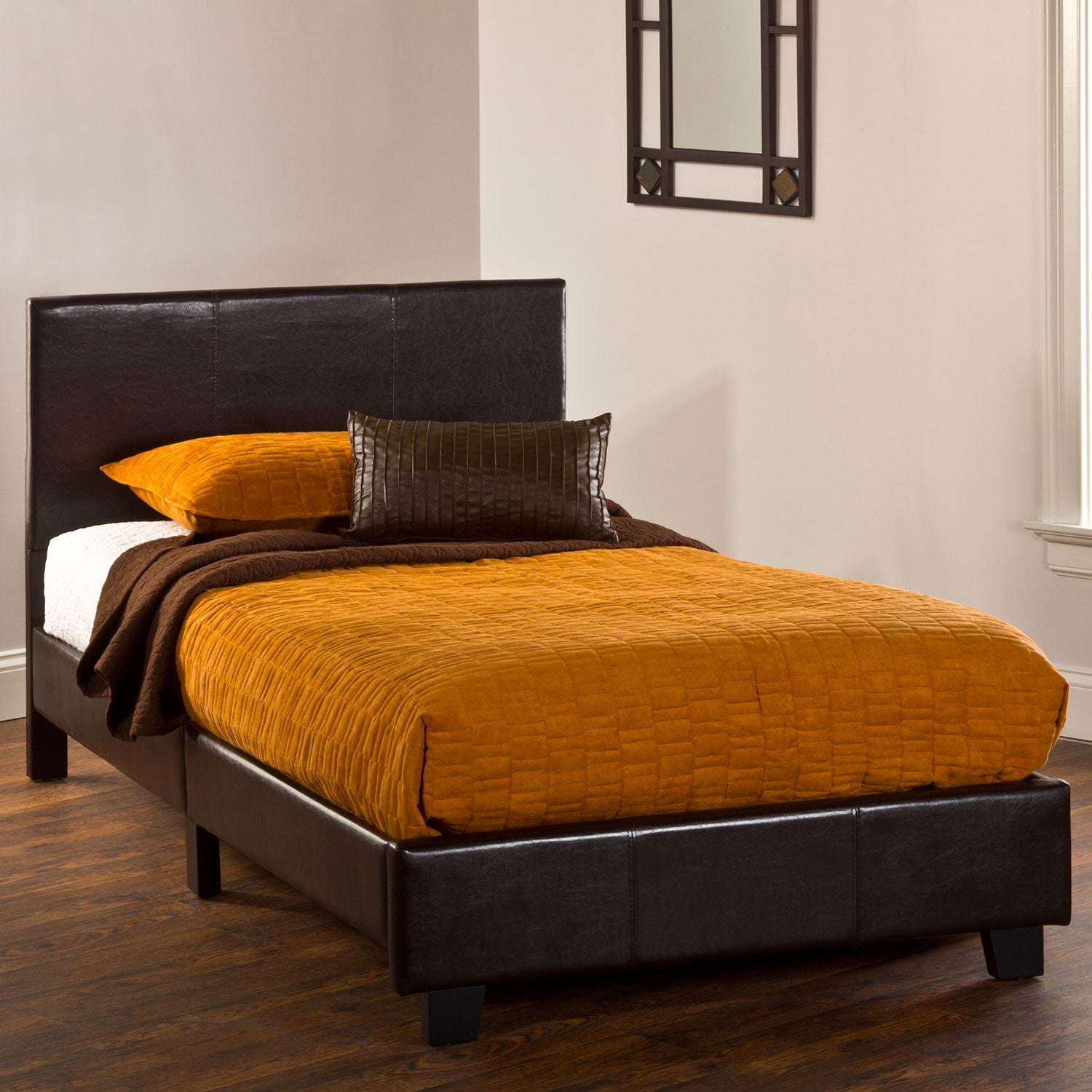 Bedroom Furniture - Spring Twin Bed in a Box - Brown