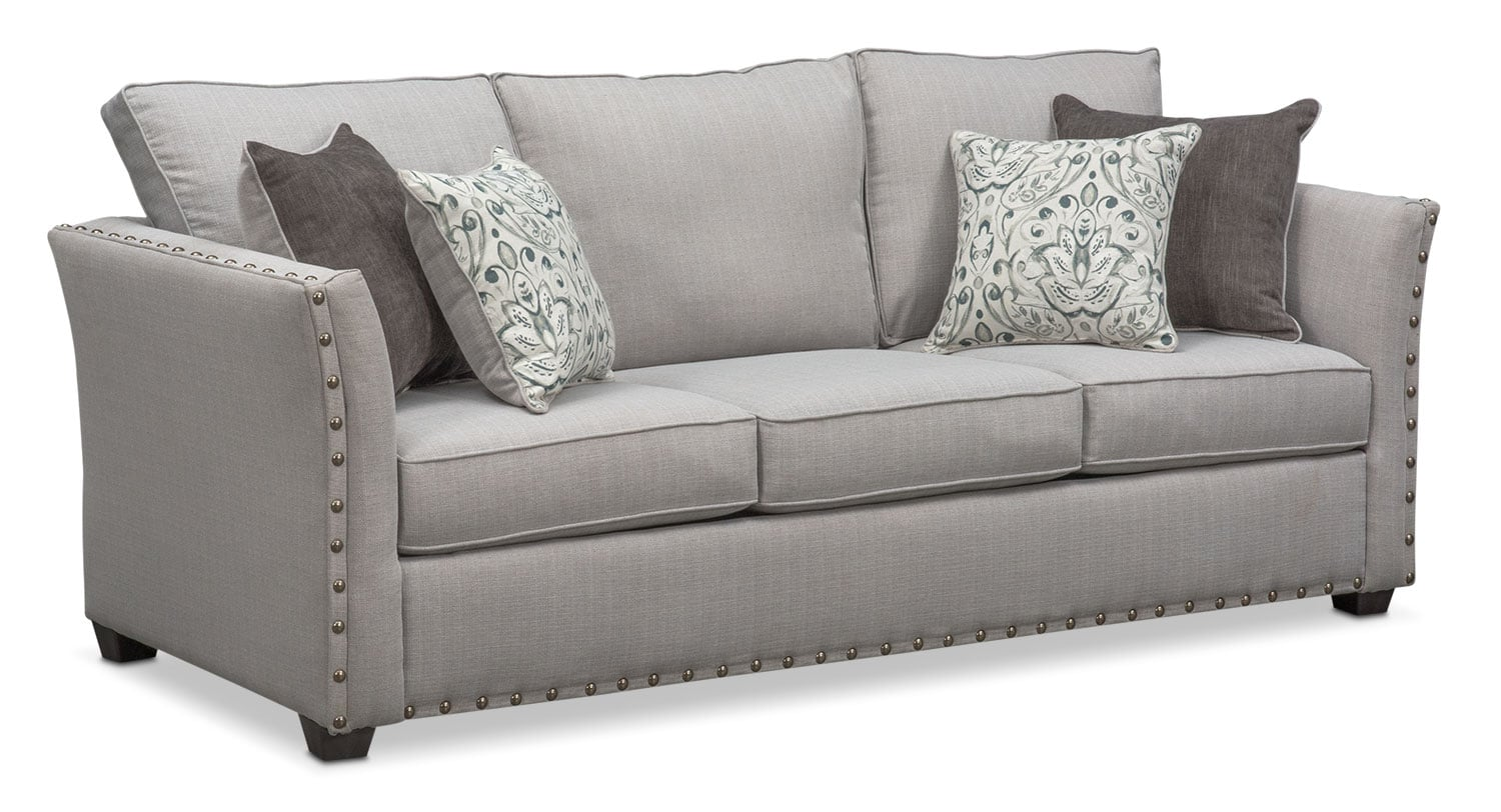 Living Room Furniture - Mckenna Queen Innerspring Sleeper Sofa - Pewter