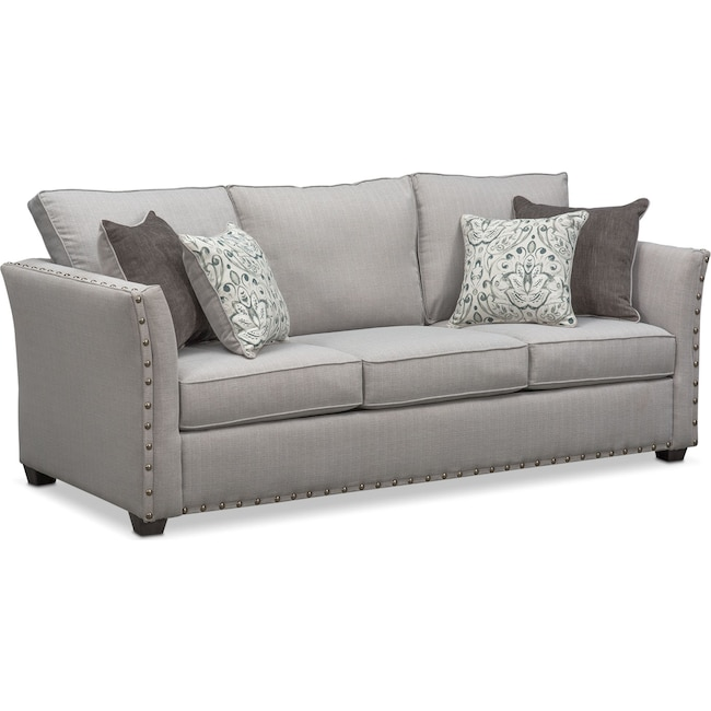 Living Room Furniture Mckenna Queen Memory Foam Sleeper Sofa Pewter