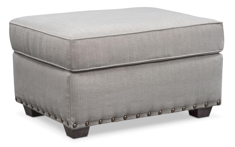 Living Room Furniture - Mckenna Ottoman - Pewter