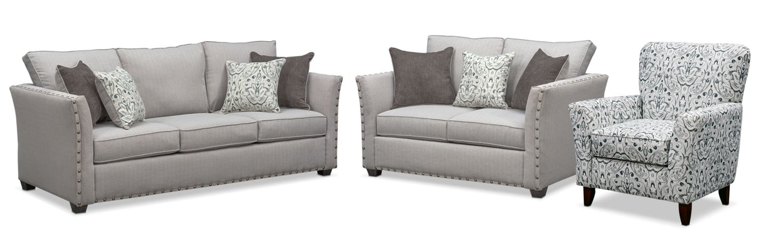 Living Room Furniture - Mckenna Queen Innerspring Sleeper Sofa, Loveseat and Accent Chair Set - Pewter