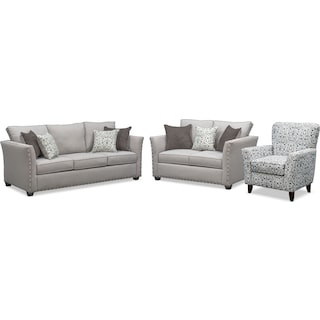Mckenna Sofa, Loveseat and Accent Chair Set - Pewter