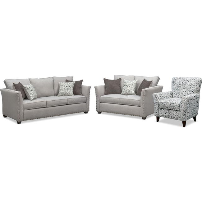 Living Room Furniture - Mckenna Queen Memory Foam Sleeper Sofa, Loveseat and Accent Chair Set - Pewter