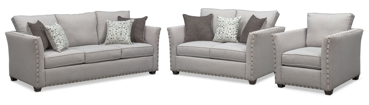 Mckenna Queen Memory Foam Sleeper Sofa, Loveseat and Chair Set - Pewter