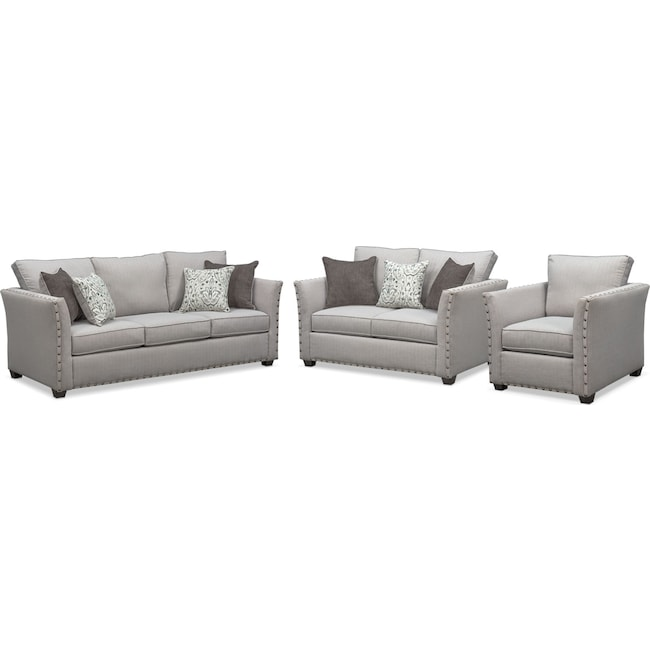 Living Room Furniture - Mckenna Queen Memory Foam Sleeper Sofa, Loveseat and Chair Set - Pewter