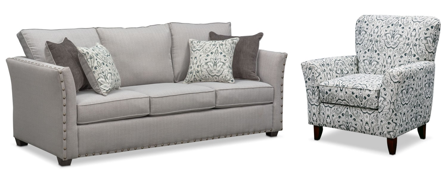Living Room Furniture - Mckenna Queen Memory Foam Sleeper Sofa and Accent Chair Set - Pewter