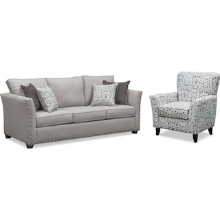 Mckenna Queen Memory Foam Sleeper Sofa and Accent Chair Set - Pewter