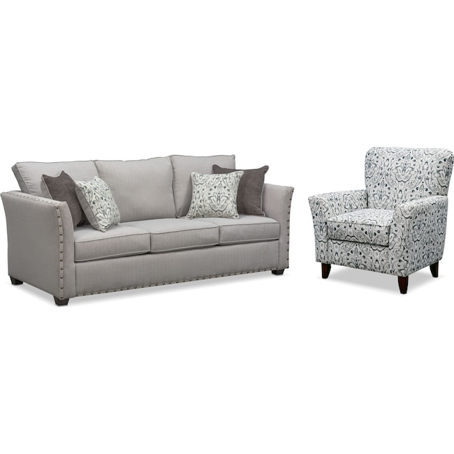 Living Room Furniture - Mckenna Queen Innerspring Sleeper Sofa and Accent Chair Set - Pewter