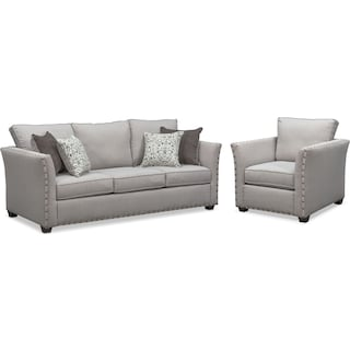Mckenna Sofa and Chair Set - Pewter