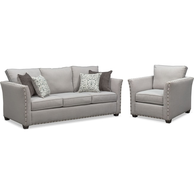 Living Room Furniture - Mckenna Queen Memory Foam Sleeper Sofa and Chair Set - Pewter