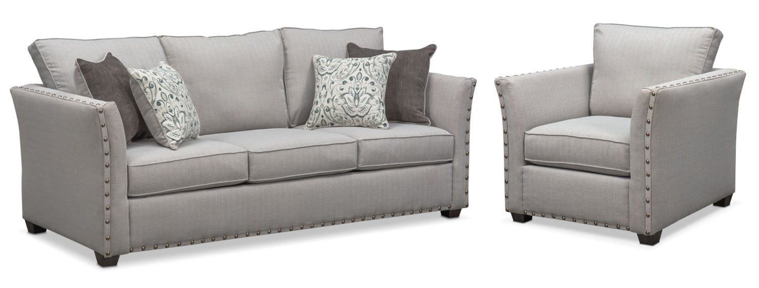 Superbe Living Room Furniture   Mckenna Queen Memory Foam Sleeper Sofa And Chair  Set   Pewter