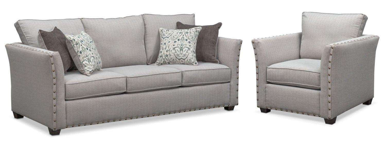 Genial Living Room Furniture   Mckenna Queen Memory Foam Sleeper Sofa And Chair Set    Pewter