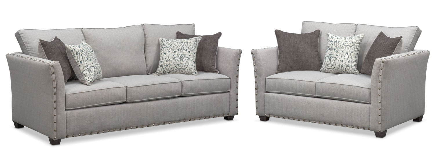 Living Room Furniture - Mckenna Queen Memory Foam Sleeper Sofa and Loveseat Set - Pewter